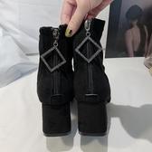 彈力靴女絨面短靴2019秋冬季新款黑色百搭方頭粗跟單靴網紅瘦瘦靴