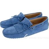 TOD'S Gommino Driving 麂皮絨流蘇繫帶休閒豆豆鞋(男鞋/藍色) 1830104-23