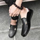 豆豆鞋男真皮冬季男鞋男士休閒鞋皮鞋男懶人男鞋韓版百搭個性加絨