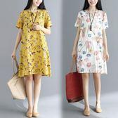 洋裝 連身裙 夏季新款v領直筒中大尺碼寬鬆顯瘦短袖民族風文藝mm棉麻印花連衣裙