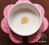 可愛日本小花碗寵物狗狗喂食盆高腳陶瓷碗架泰迪狗狗吃飯餐桌 春生雜貨