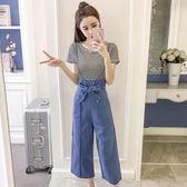 吊帶褲套裝 2018春夏新款女高腰寬鬆九分牛仔寬褲 GY834『時尚玩家』