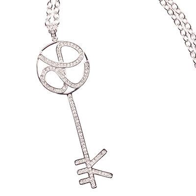 項鍊 Necklace LOVE KEY 銅鍍14K白金  施華洛世奇水鑽