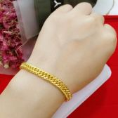 歐幣仿金飾品馬鞭手鍊女黃金色雙龍頭男士鍍金粗手鍊情侶沙金手鍊【父親節禮物】
