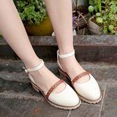 涼鞋女夏季新款韓版百搭粗跟包頭中跟一字扣羅馬鞋 sxx202 [潘小丫女鞋]