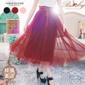 裙子 韓國直送 春氛時光網紗綁帶鬆緊腰長裙-Ruby s 露比午茶