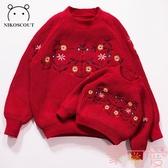 親子毛衣母女裝過年母子裝秋冬韓版寬松針織衫【聚可愛】