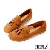 樂福鞋-HERLS 英倫麂皮流蘇2way樂福鞋-駝色
