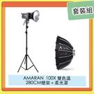 APUTURE 愛圖仕 AMARAN 100X 雙色溫 LED燈+ 280CM 燈架 +Light Dome mii 柔光罩 套裝組