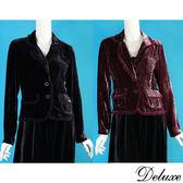 【Deluxe】典雅浪漫絨布拼接雪紡滾邊長袖外套(黑☆咖)