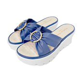 MICHELLE PARK 小步調 ‧ 抓皺鑽扣氣墊厚底夾趾涼鞋-藍