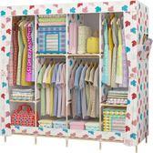衣柜實木推拉門布藝組裝簡約現代布衣柜兒童卡通省空間簡易衣柜   潮流前線