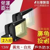 TOYAMA特亞馬 超勁亮戶外防水LED投射燈13W 2入組 白光、黃光任選【免運直出】