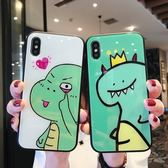 【SZ15】卡通恐龍綠色玻璃 iphone XS MAX手機殼 iphone XR XS手機殼 iphone 8plus手機殼 i6s plus手機殼 iphone X