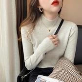 長袖針織衫~針織打底衫女洋氣百搭溫柔風修身內搭薄款上衣半高領毛衣BF19A莎菲娜