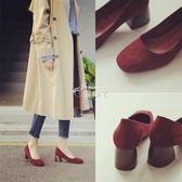 單鞋新款韓版百搭復古方頭女鞋黑色絨面瑪麗珍粗跟高跟鞋 俏腳丫