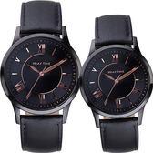 Relax Time RT58 經典學院風格對錶/情侶手錶-黑x玫瑰金時標/42+36mm RT-58-9M+RT-58-9L