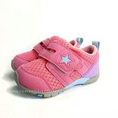 中童 日本月星MOONSTAR 魔鬼氈 星星 透氣學步鞋 《7+1童鞋》B457 粉色