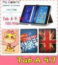 【萌萌噠】三星 Tab A 9.7 P550/555卡通彩繪保護套 十字紋側翻皮套 可愛塗鴉  支架磁扣 平板套