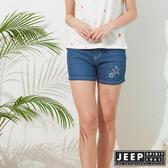 【JEEP】女裝 夏季清新質感休閒短褲-藍