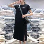 下襬開衩英文字印花洋裝-大尺碼 獨具衣格 J2529