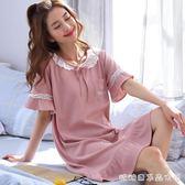 睡衣女夏季韓版清新短袖純棉可愛中長款睡裙寬鬆薄夏天孕婦可外穿 糖糖日系森女屋
