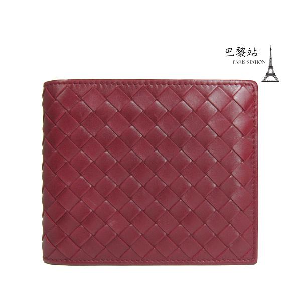 【巴黎站二手名牌專賣店】*現貨*Bottega Veneta BV 真品*經典編織皮革磚紅色短夾