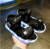 夏季新款防水男童發光鞋兒童涼鞋女童亮燈充電寶寶閃燈帶燈童鞋子 滿天星