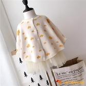 女寶寶披風斗篷單排扣春秋女童蝙蝠袖針織毛衣洋氣童裝潮【小獅子】