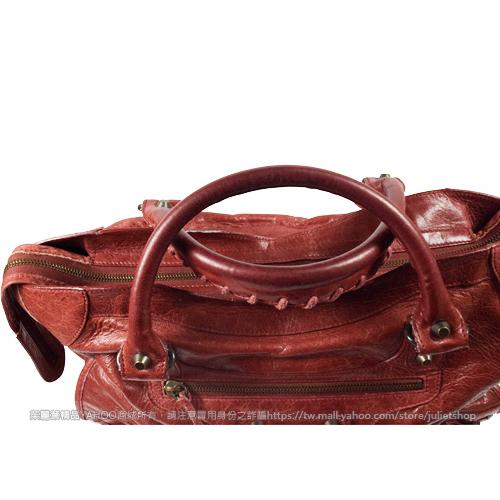 茱麗葉精品 二手名牌【8.9成新】BALENCIAGA 巴黎世家 115748 THE CITY 經典小羊皮兩用機車包.暗紅