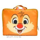 〔小禮堂〕迪士尼 奇奇蒂蒂 尼龍旅行衣物收納袋《M.淡棕.大臉》盥洗袋.收納包 4992831-14436