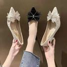 尖頭高跟鞋2021新款夏時尚百搭網紅ins潮蝴蝶結淺口仙女風女單鞋 快速出貨