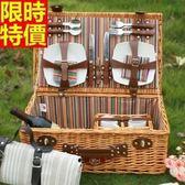 野餐籃 餐具組合-四人份家庭必備郊遊用品68e38[時尚巴黎]