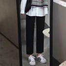 西裝褲女直筒寬鬆闊腿高腰垂感休閒黑色顯瘦九分夏季薄學生女褲子