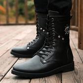馬丁靴男潮靴冬季新款軍靴黑色高筒皮靴防水高筒鞋工裝潮流男靴子  poly girl