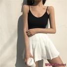 百褶裙 春夏新款正韓黑色a字半身裙女學院風學生超火的高腰百褶裙短裙褲-Ballet朵朵