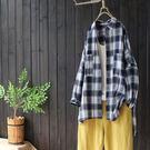 東京奈奈日系森林系格紋長袖寬鬆休閒襯衫[j60816]