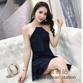 露背洋裝/夏裝新款時髦氣質女裝性感金屬圓環掛脖修身無袖連身裙a字裙「歐洲站」