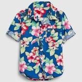 Gap男幼活力花卉印花短袖襯衫581476-鈷藍色
