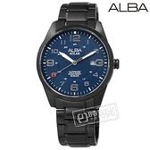 ALBA / AS32-X018SD.AX3001X1 / 台灣限定 環保太陽能 藍寶石水晶玻璃 防水100米 不鏽鋼手錶 藍x鍍黑 39mm