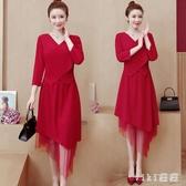 大碼紅色洋裝2020年新款春裝200斤胖mm不規則連身裙長款減齡 LF1894【VIKI菈菈】
