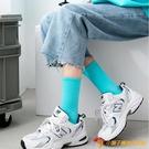 彩色襪子女純棉堆堆襪日系糖果色中筒襪秋冬百搭長襪【小獅子】