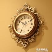 美式藝術時鐘創意潮流石英鐘表歐式掛鐘客廳靜音家用時尚大氣掛表 果果輕時尚