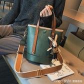 高級感包包洋氣女包2020新款潮韓版百搭側背包復古時尚手提水桶包 LannaS