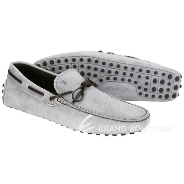 TOD'S Gommino Driving 綁帶拼接麂皮豆豆休閒鞋(淺灰色) 1620901-06