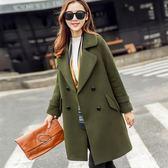 秋冬女裝顯瘦毛呢外套修身大碼中長款呢子大衣
