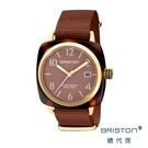 BRISTON 手工方糖錶 可可色 金框 前衛設計 時尚帆布錶帶 男女 生日情人節禮物