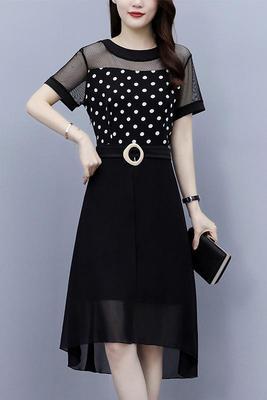 涼感洋裝連身裙L-5XL大碼女裝胖mm顯瘦圓點洋氣減齡胖女人遮肚雪紡連身裙NC16-B.胖丫