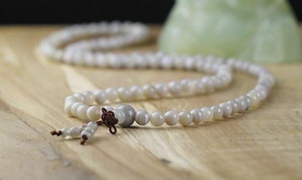 [協貿國際]天然灰條紋瑪瑙108顆佛珠手鍊單條價