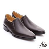 A.S.O 超輕雙核心 牛皮雙色直套式奈米紳士鞋 咖啡